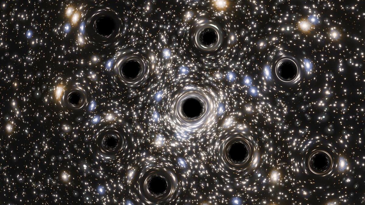 An artist's interpretation of a black hole cluster.