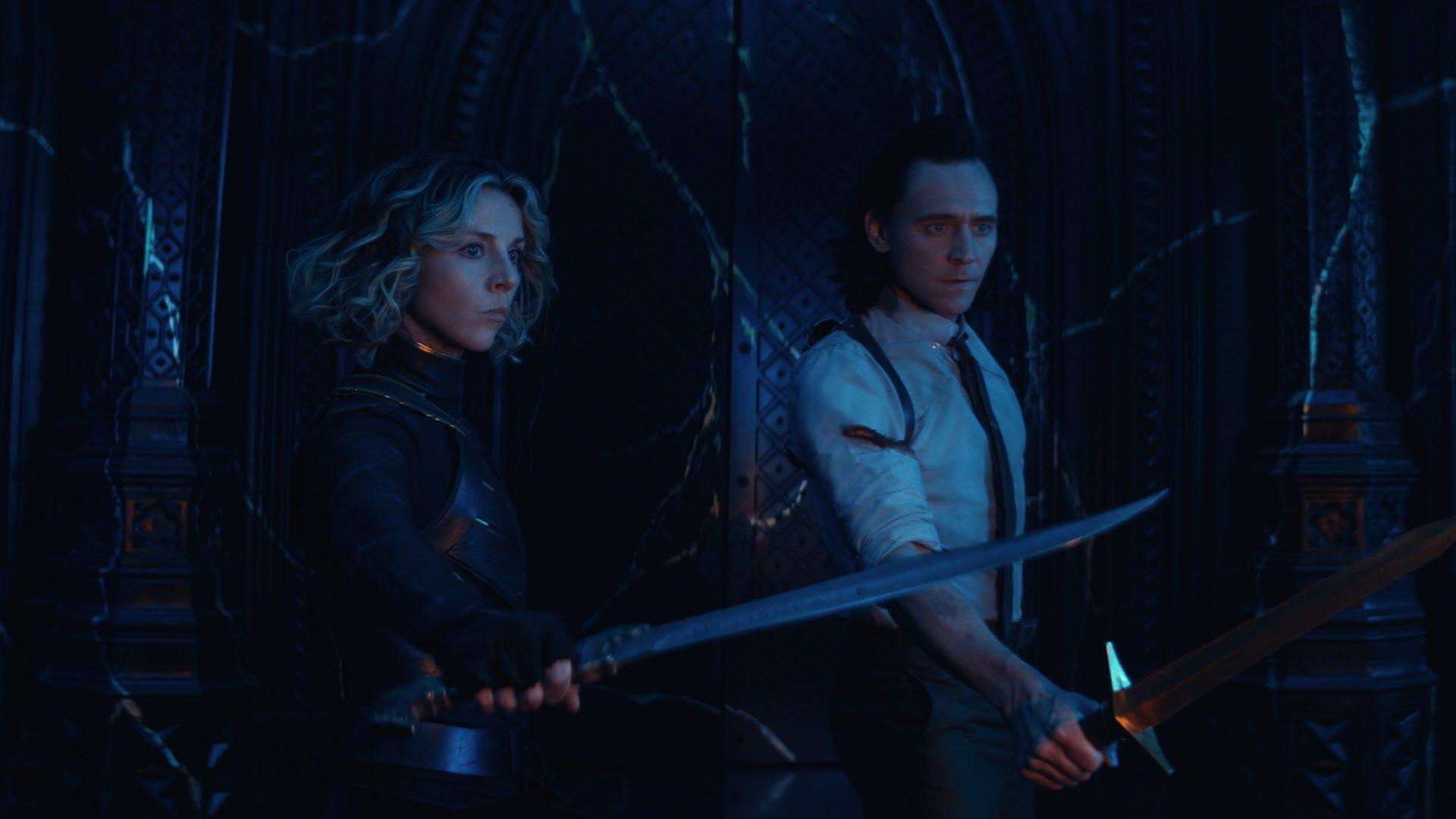 Loki and Sylvie facing an unseen enemy.