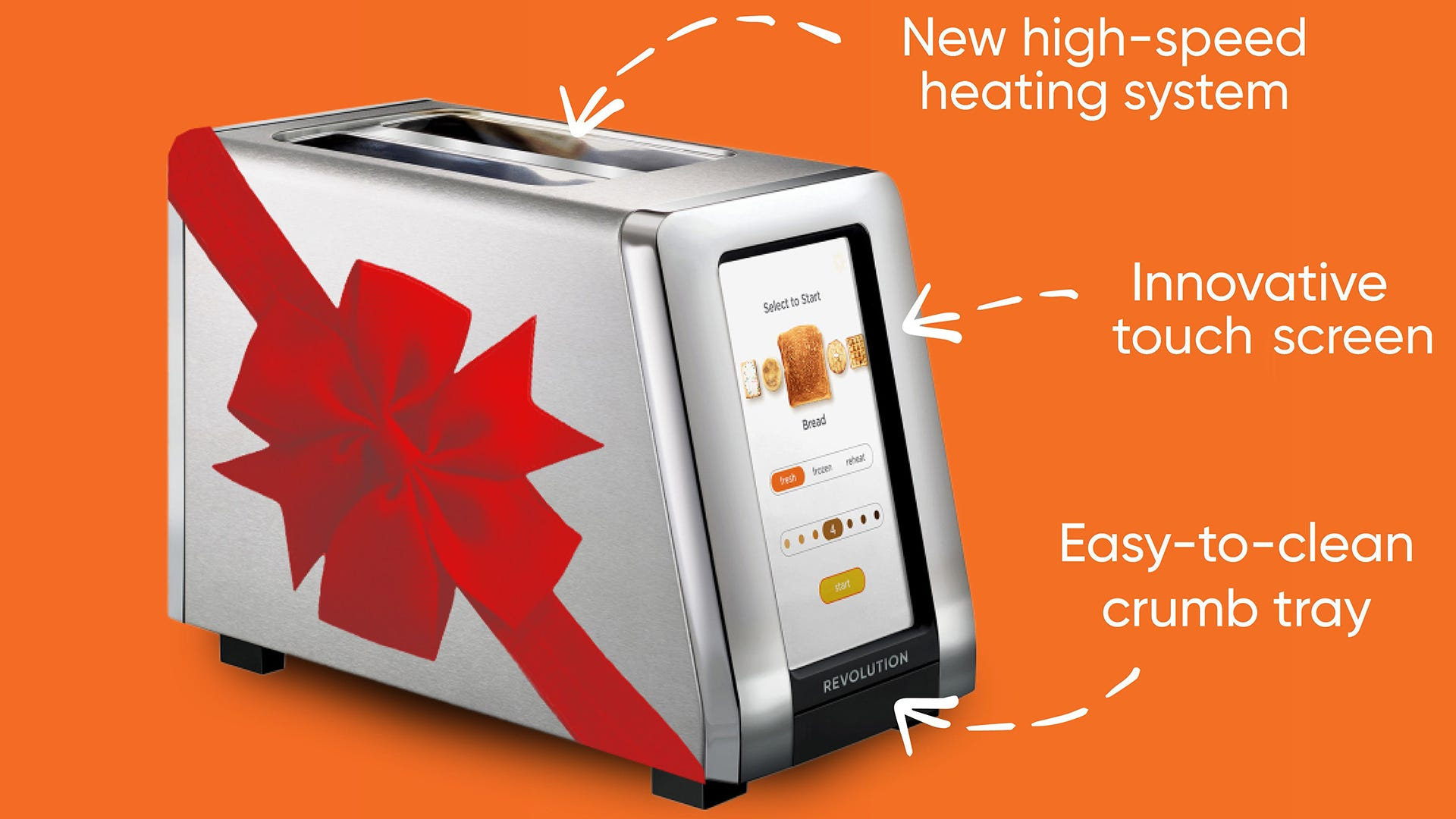 Revolution Cooking's smart toaster with some annotations
