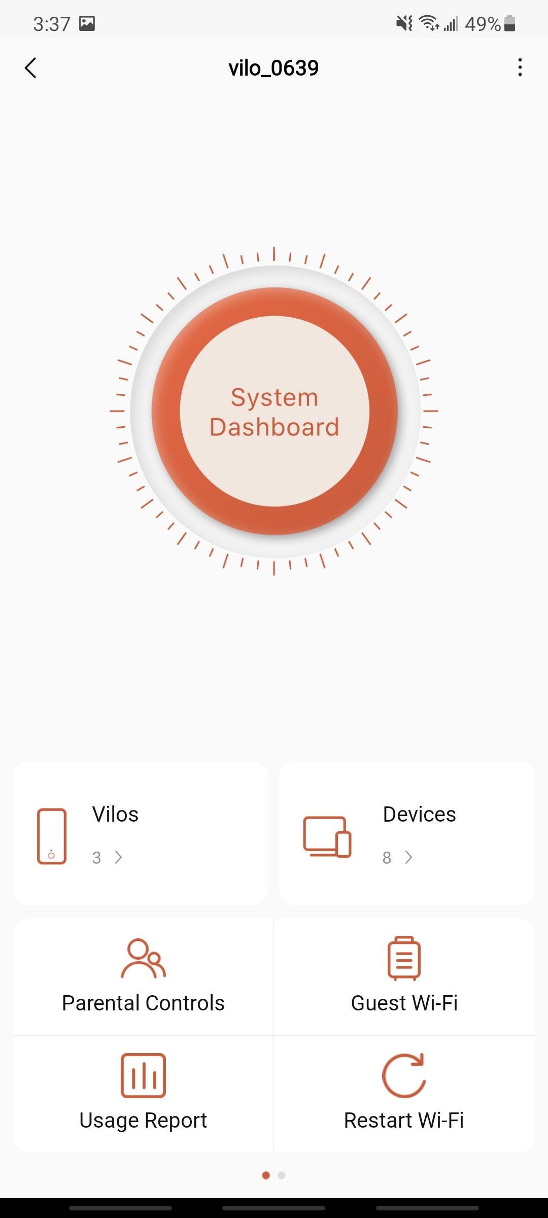 vilo living app home screen system dashboard