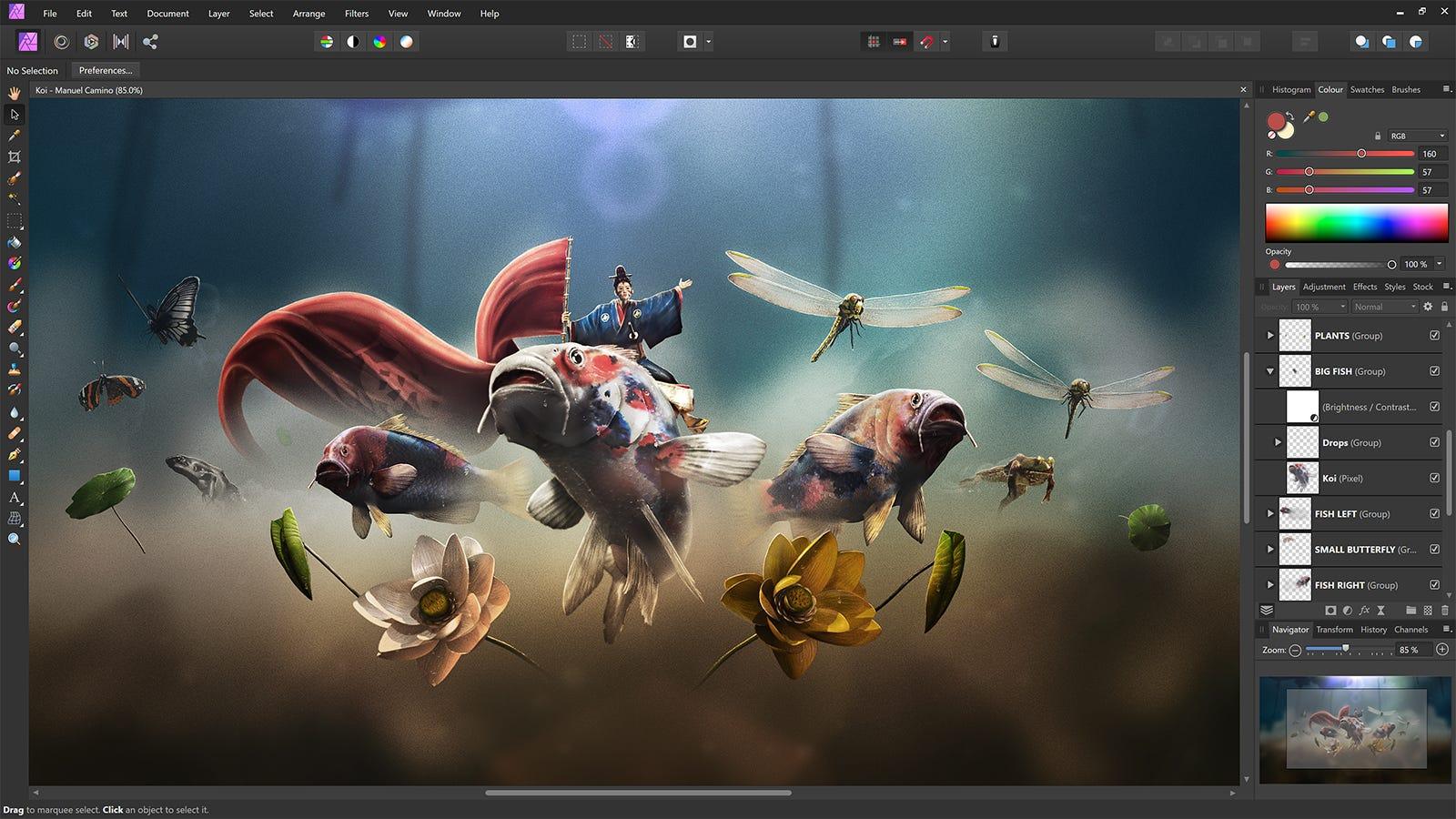 Screenshot of Affinity Photo main editing page