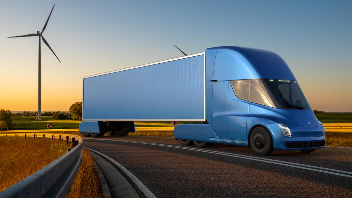 Tesla Semi truck electric truck on the road