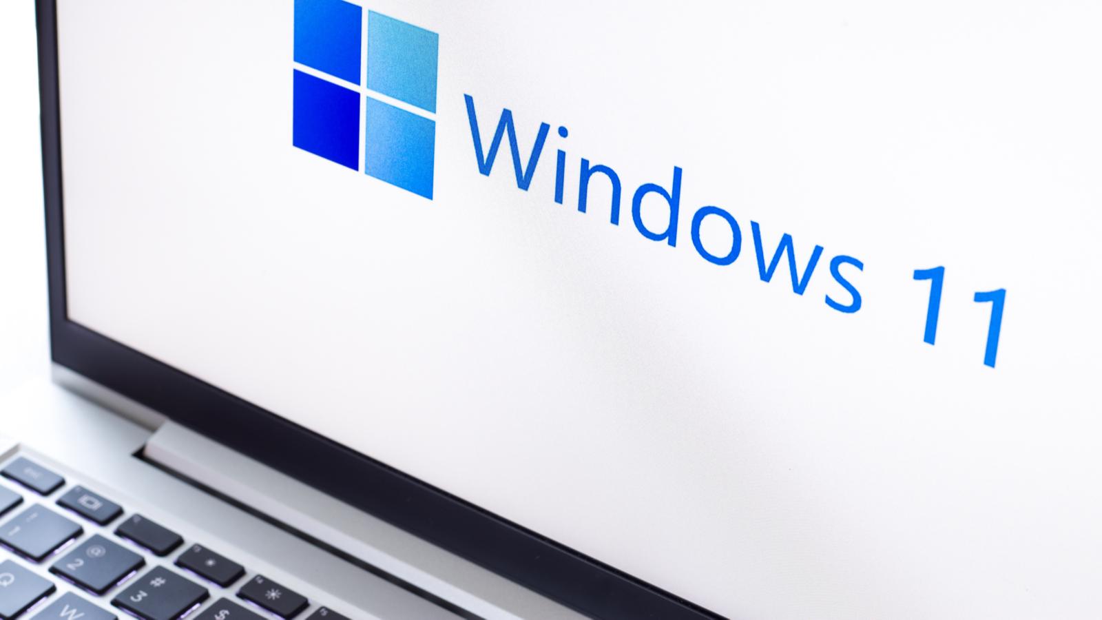Close-up of Windows 11 logo on a laptop