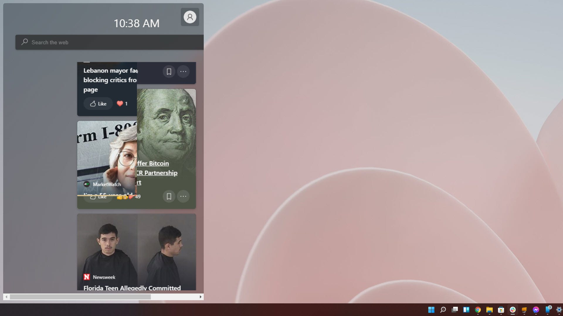The new widget panel.