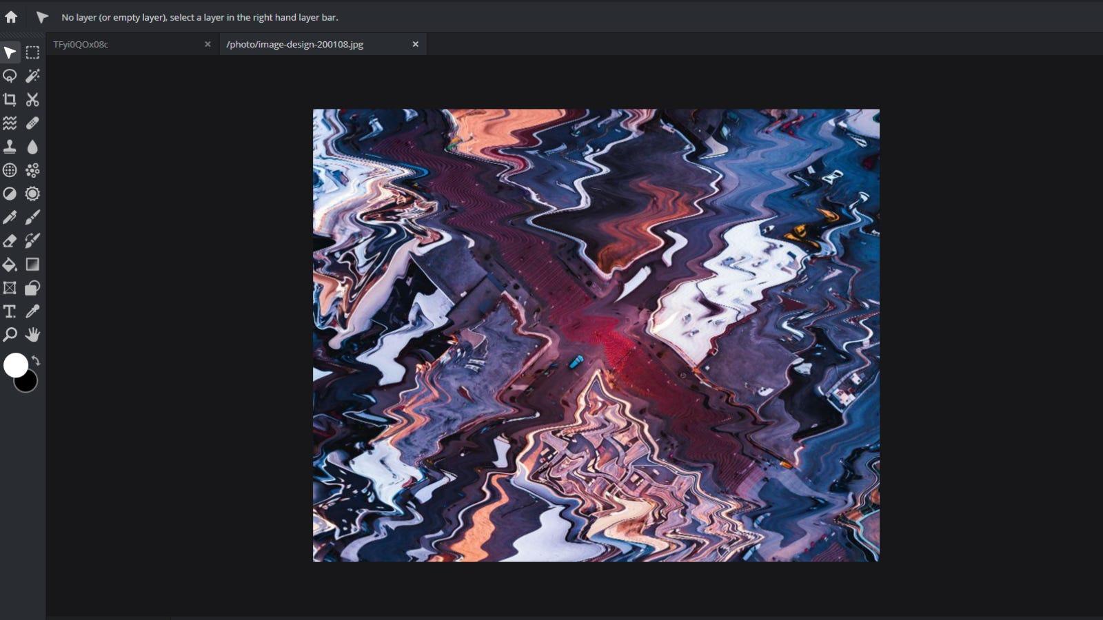 Screenshot of Pixlr main editing page
