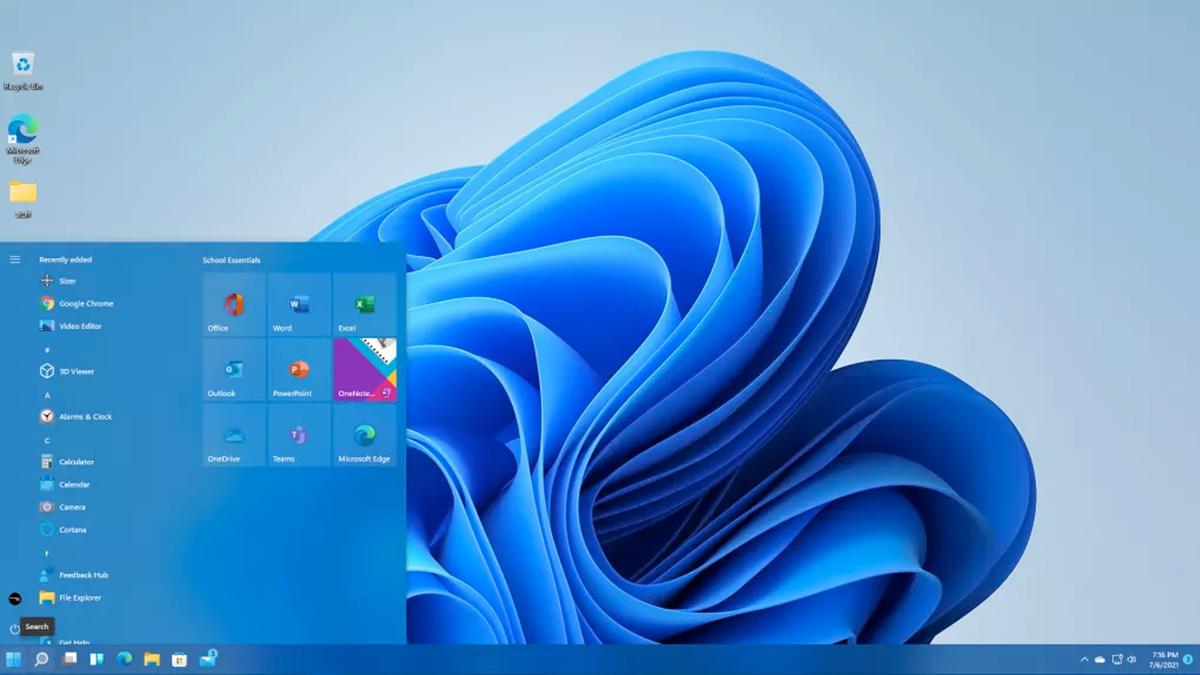 The Windows 10 start menu in Windows 11.