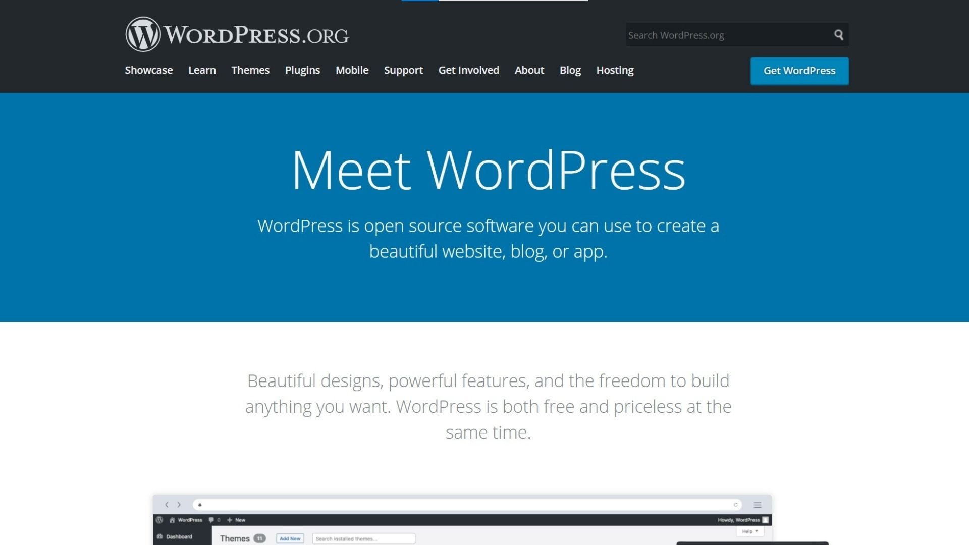 wordpress.org software home page