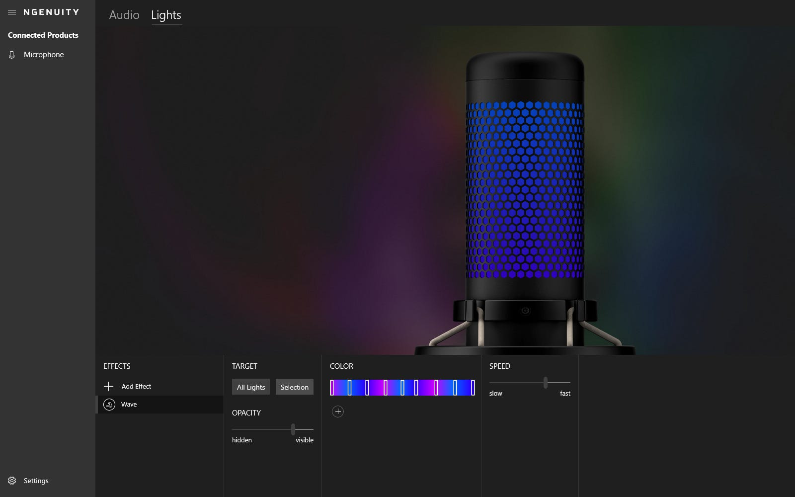 Lighting options for the QuadCast S in HyperX NGENUITY