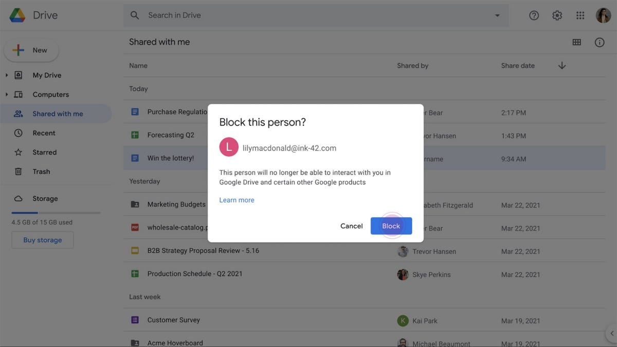 A screenshot of the block function in Google Drive