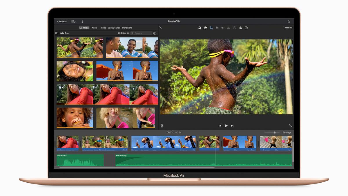 The M1 MacBook Air running iMovie.