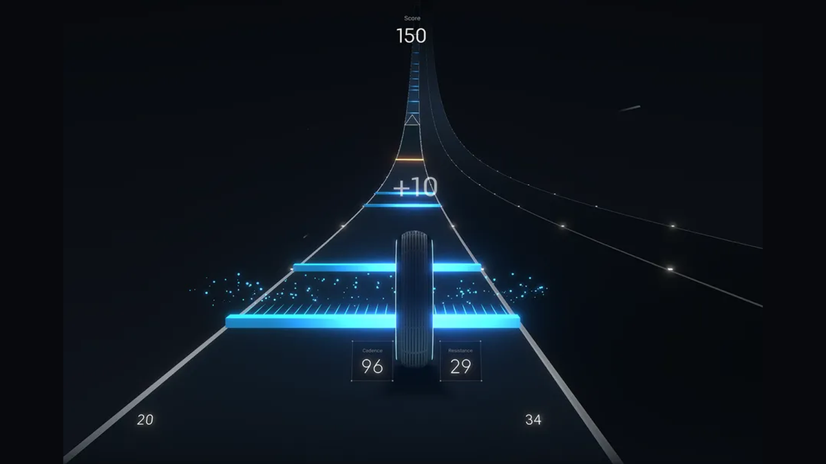 Peloton's upcoming in-app cycling game peek of rolling wheel earning points