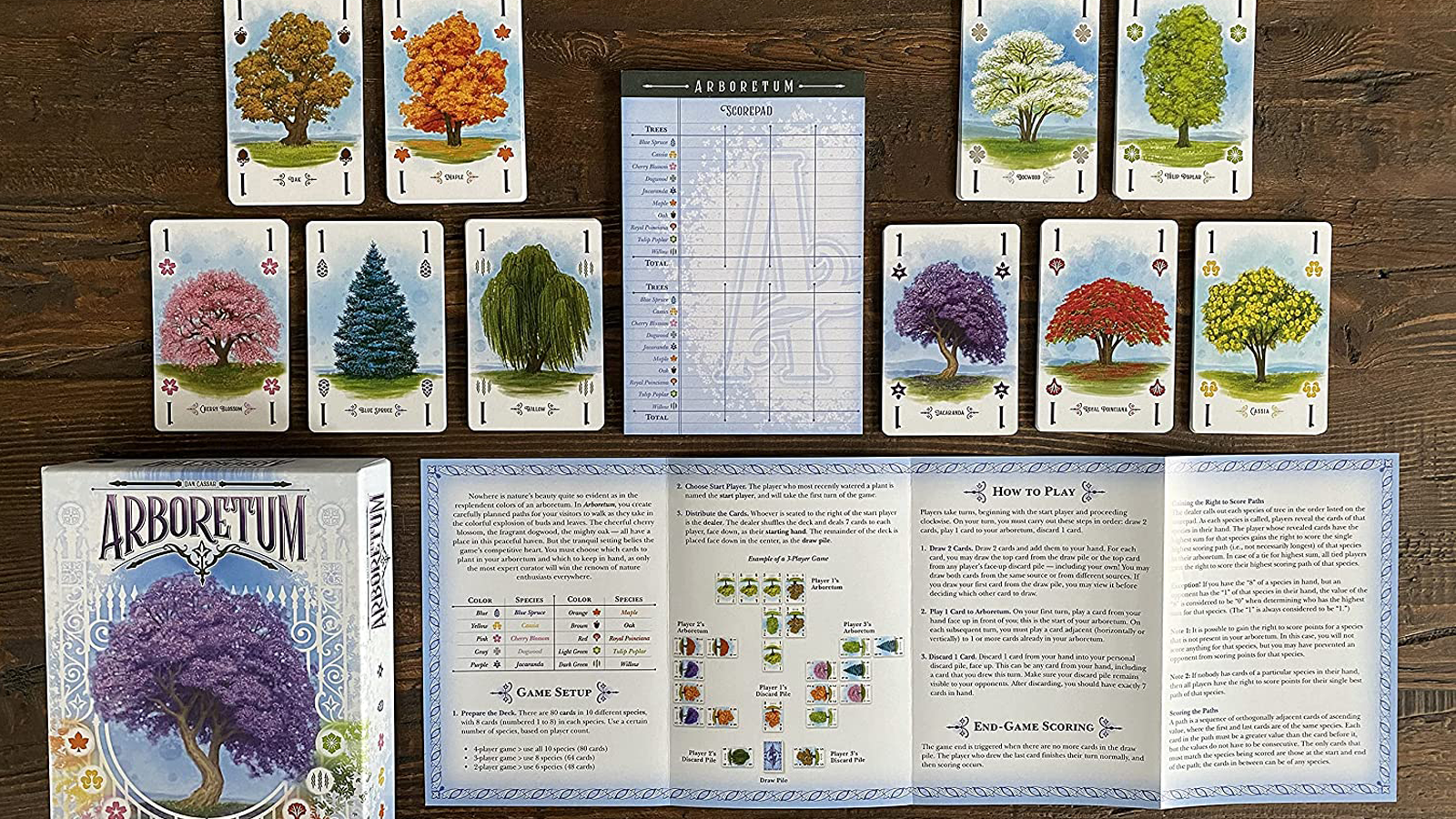 Box, cards, and instructions of game Arboretum laid out on wooden table
