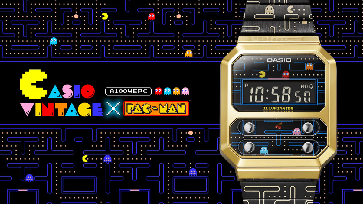 Pac-Man game and logo next to new Casio watch design