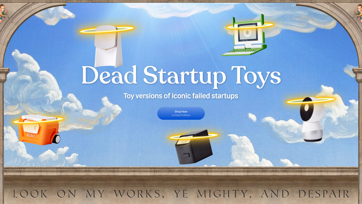 """Toy versions of failed startups on a cloud background with marble border saying, """"Look on my works, ye mighty, and despair."""""""