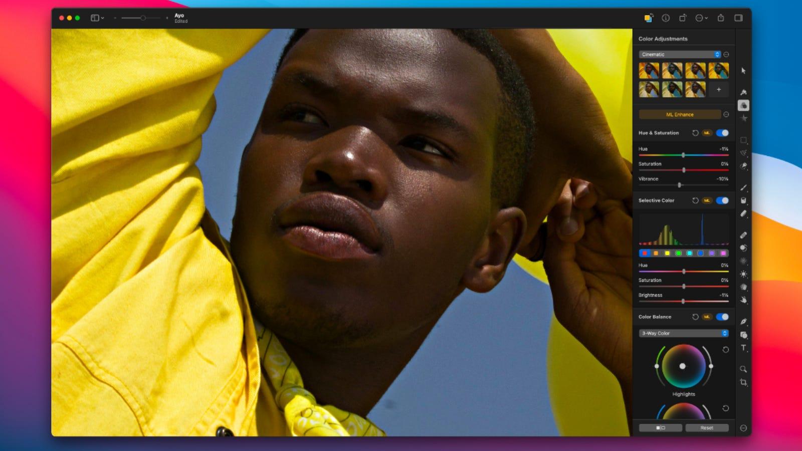 Screenshot of Pixelmator Pro main editing page on Mac home screen.