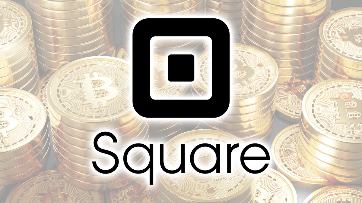The Square logo over bitcoin.