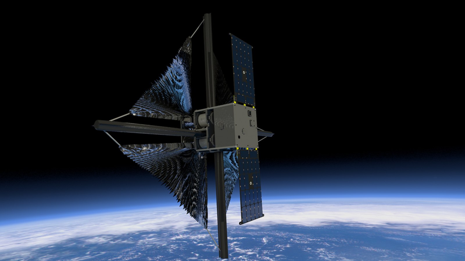 Illustration showing the solar sail beginning to unfurl after deployment of the spacecraft's solar arrays