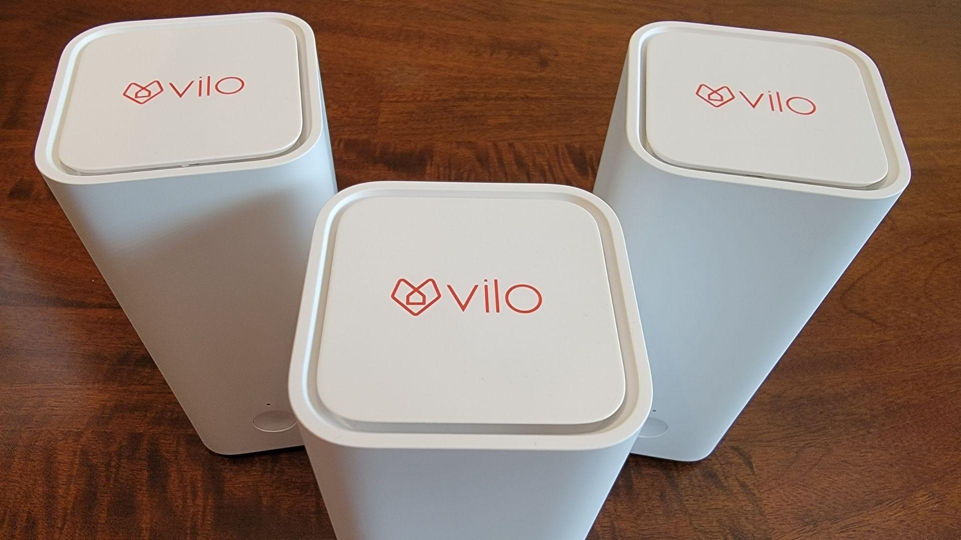 three mesh wifi vilo units showing the logo on top