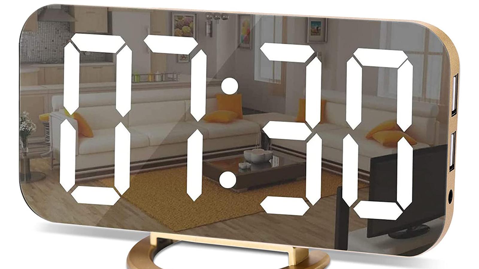 This Funky Digital Alarm Clock Has a Creative Mirror Design