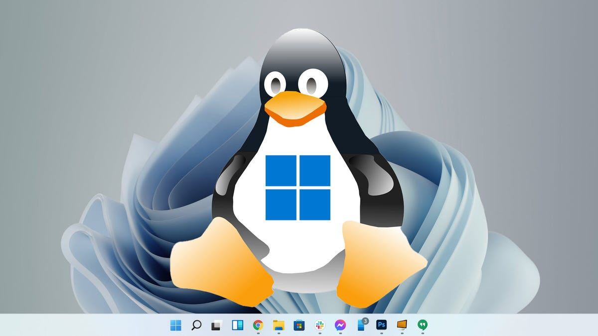 A Linux Tux-like Logo with a Windows logo on his belly