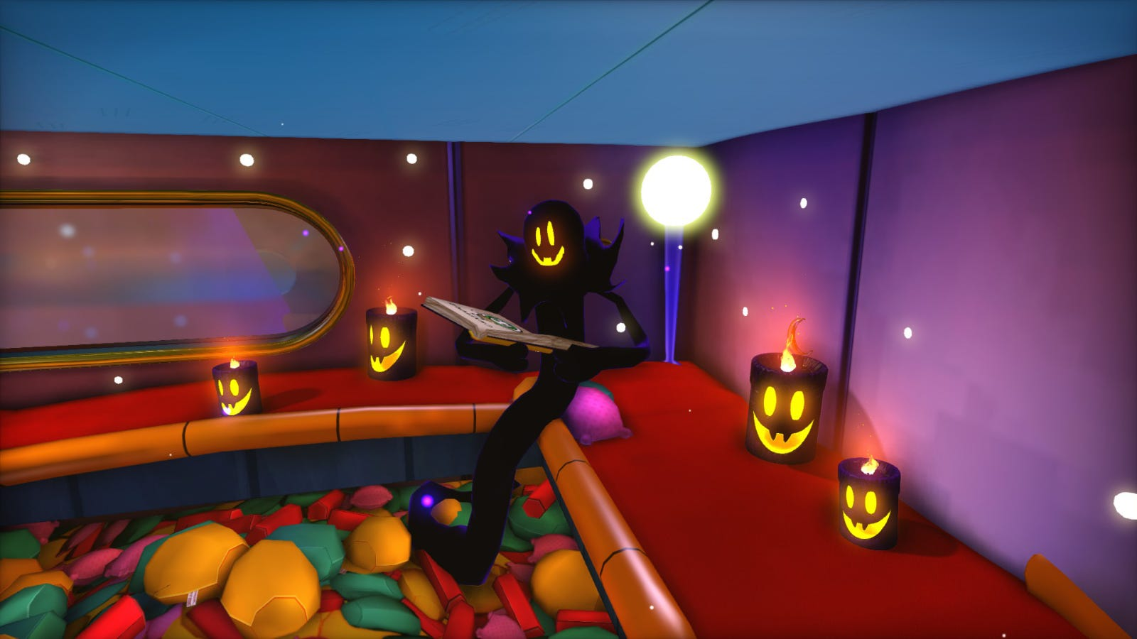 The Snatcher from 'A Hat in Time' sitting in a bedroom