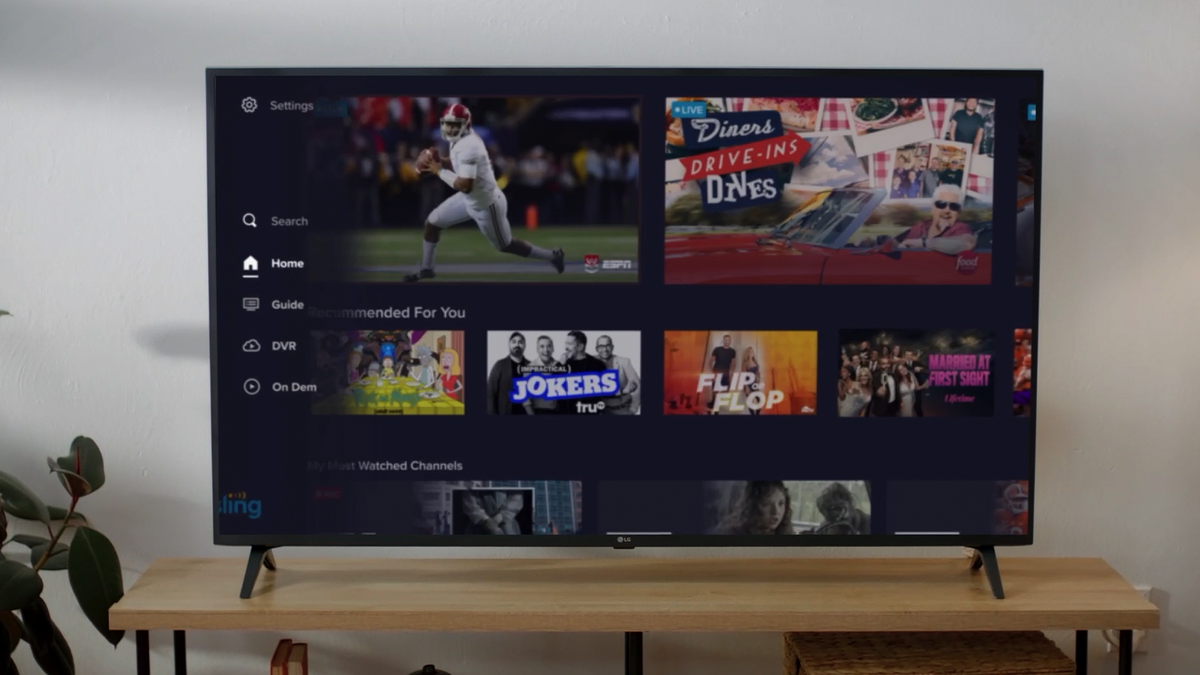 Sling TV's new app on a Fire TV.