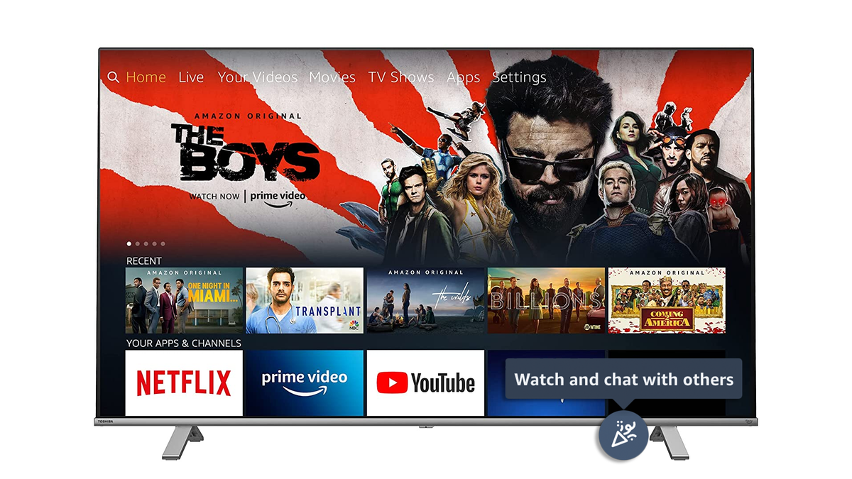 The Watch Party icon over a Fire TV.