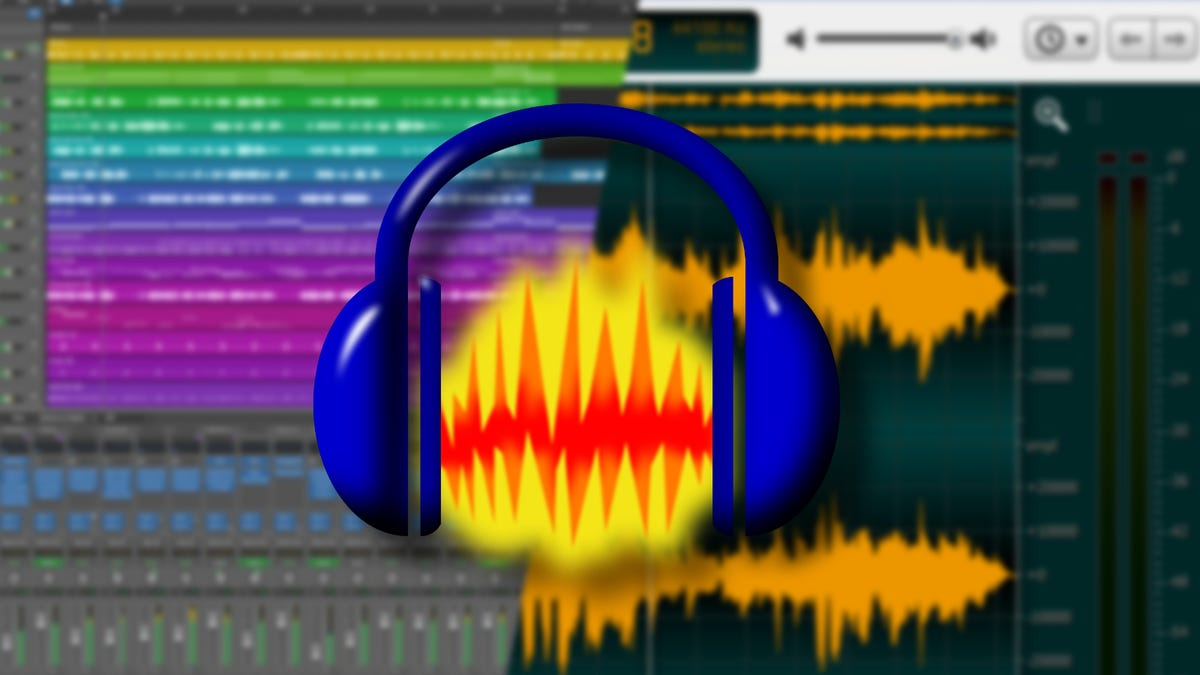 Apple Logic Pro and Ocenaudio screenshots in a collage with Audacity logo