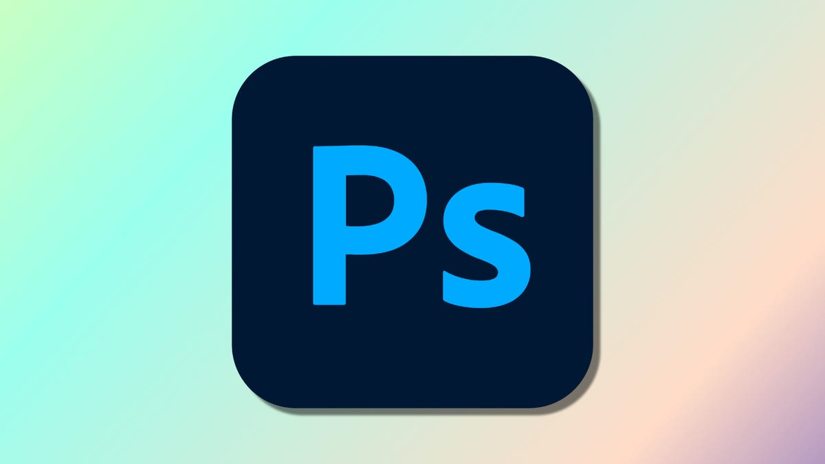 Adobe Photoshop logo against multi-colored backdrop