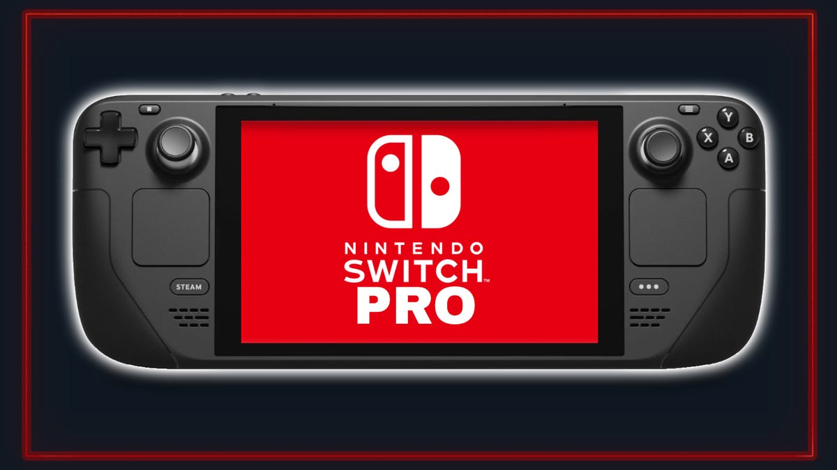 """Steam Deck with """"Nintendo Switch Pro"""" placed on the screen on blue and red background"""