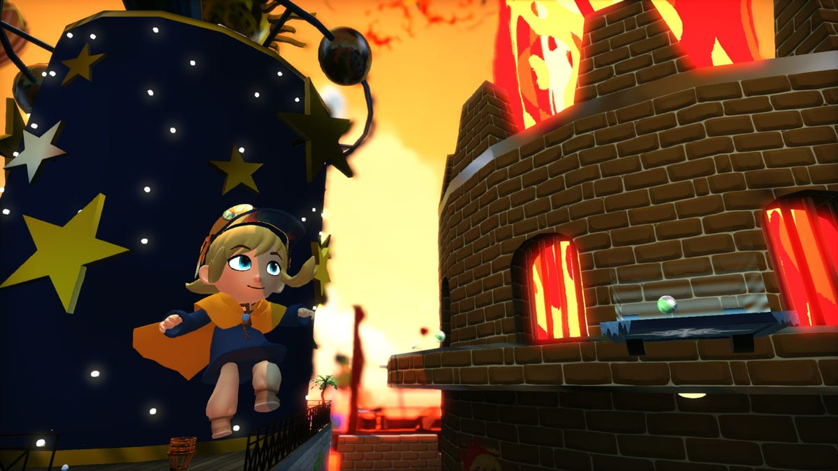 Hat Kid running by a volcano in 'A Hat in Time'