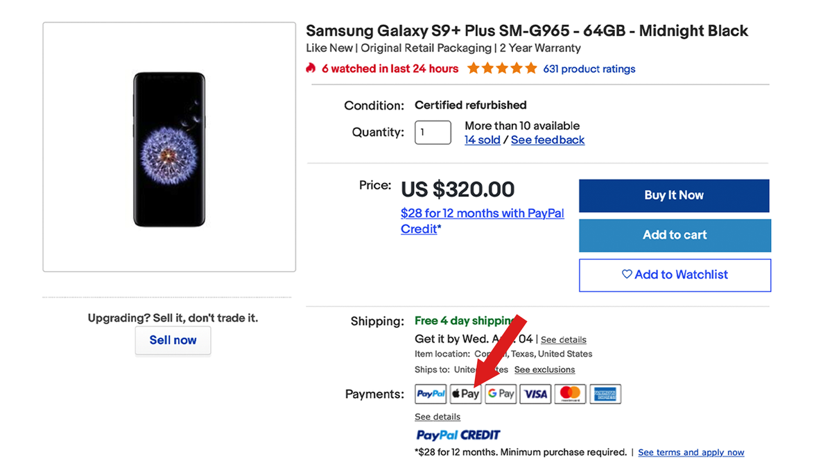Apple Pay on eBay's desktop website.