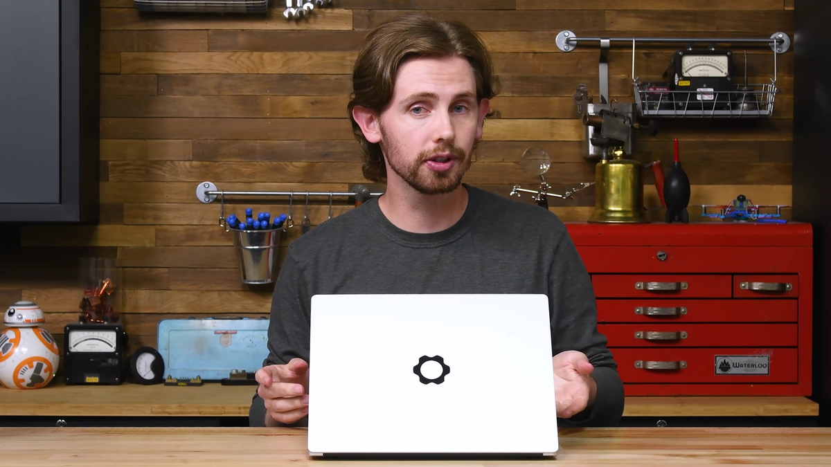 The Framework laptop on iFixit's teardown bench