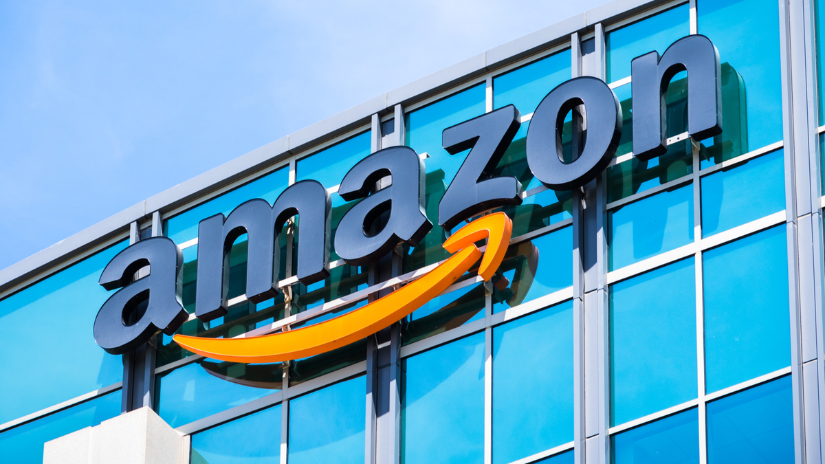 Amazon logo on the facade of one of their corporate office buildings located in Silicon Valley