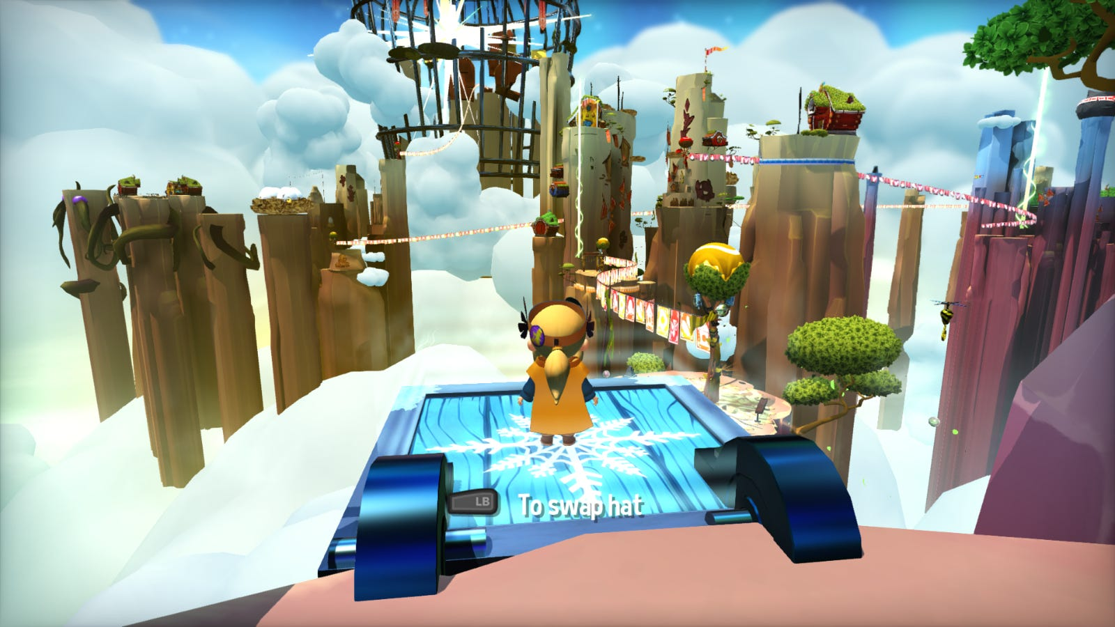 Hat Kid standing before a large, open world in the clouds in 'A Hat in Time'