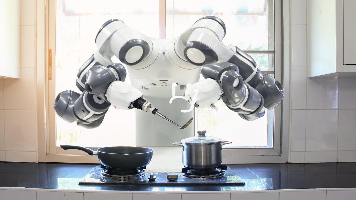 A robot cooking breakfast
