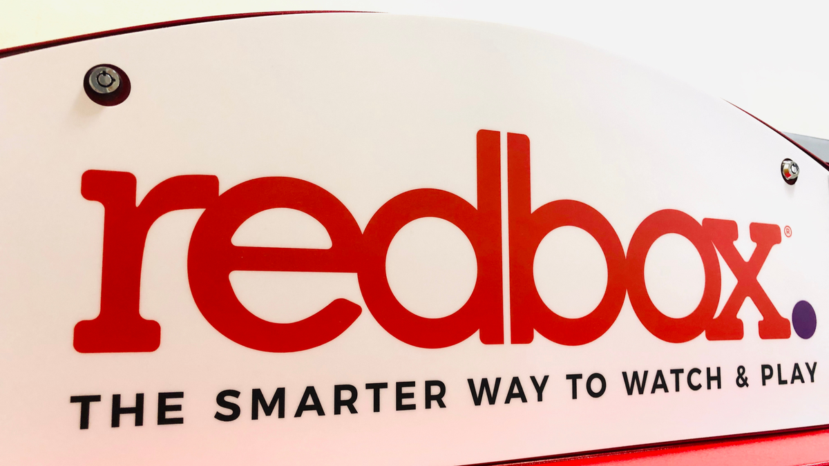Redbox logo closeup in a supermarket