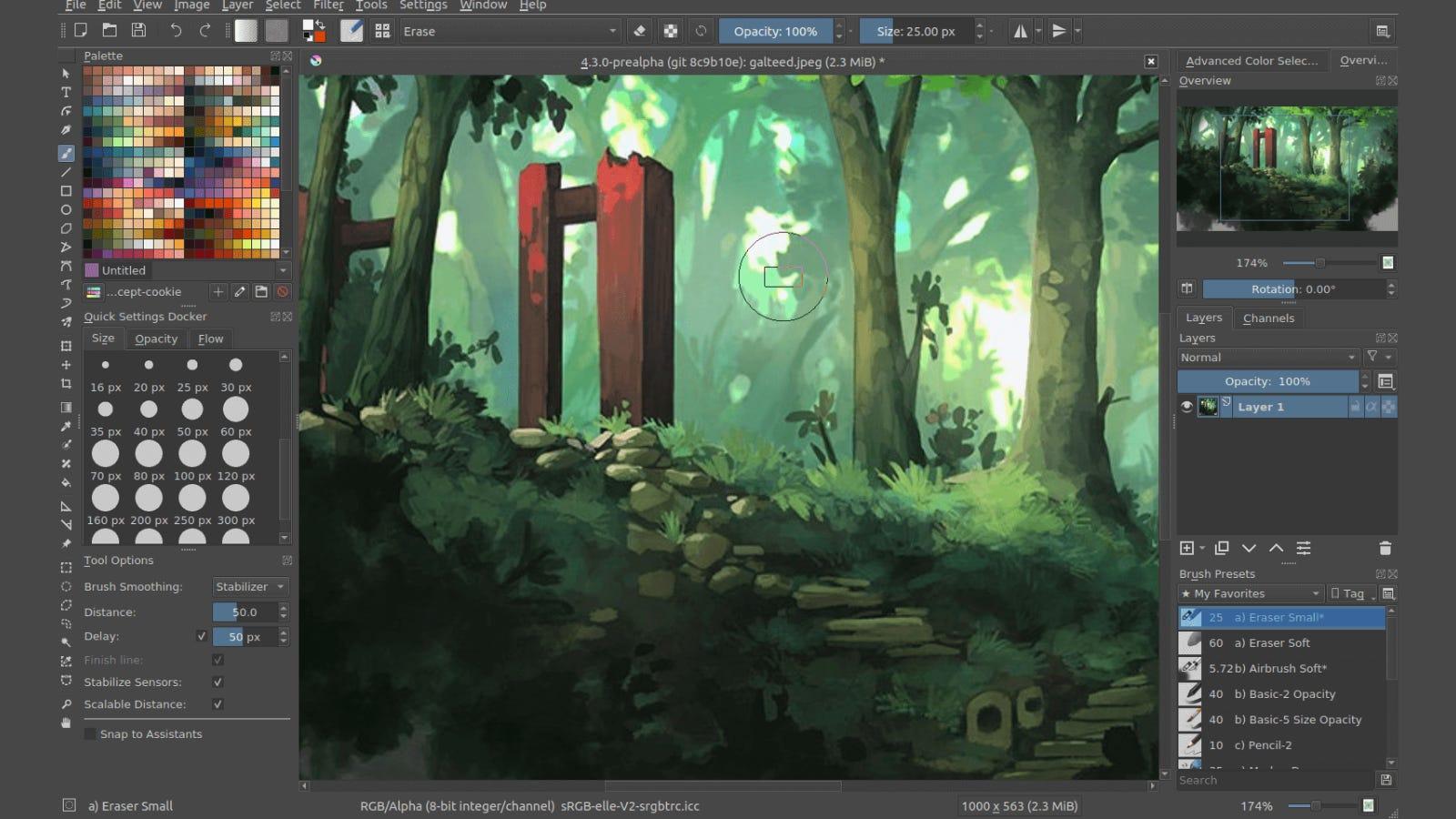Main editing page of Krita digital drawing program