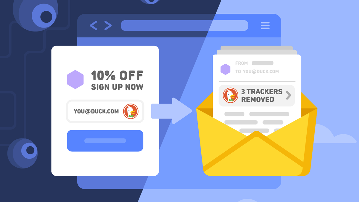 An illustration showing DuckDuckGo Email Protection