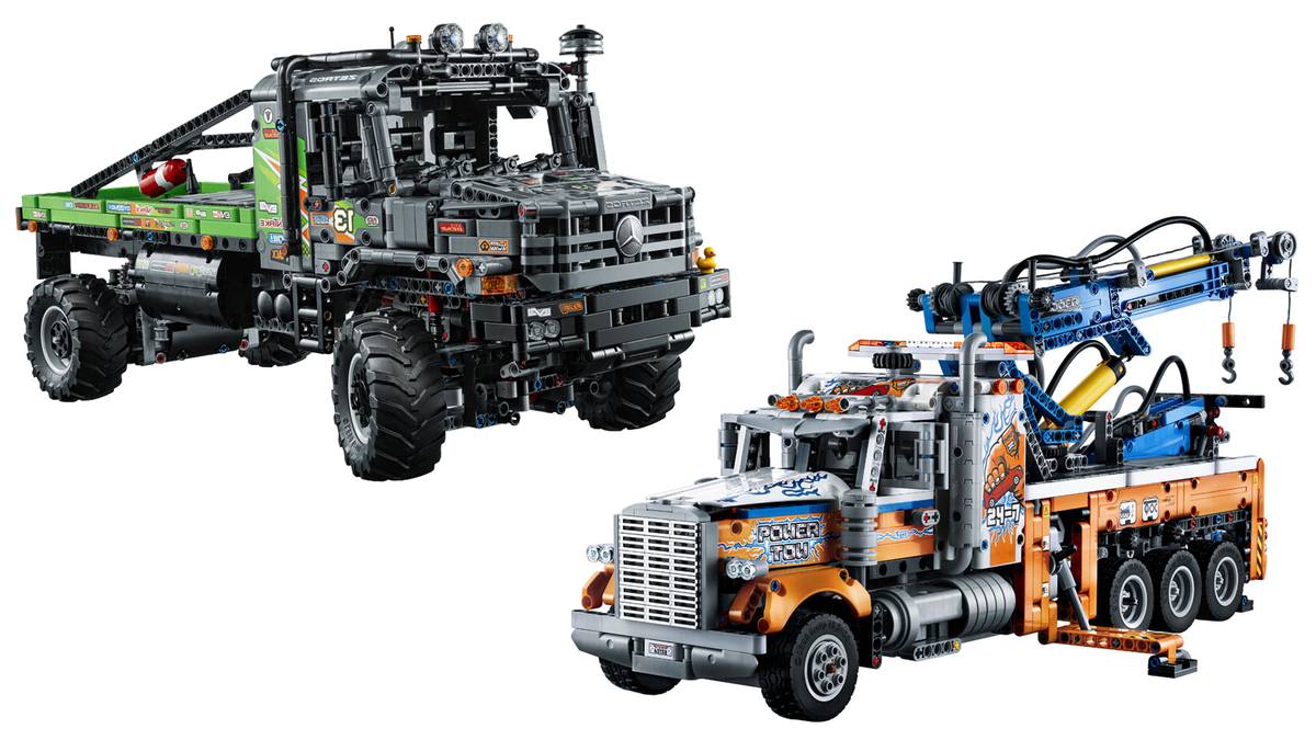 Lego Technic heavy-duty tow truck, and 4x4 Mercedes-Benz Zetros trial truck