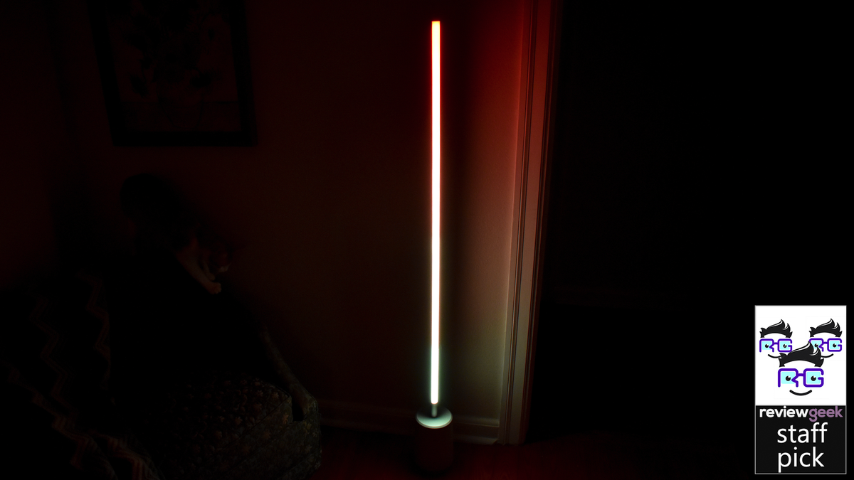 The Lyra lamp with a bright red light.