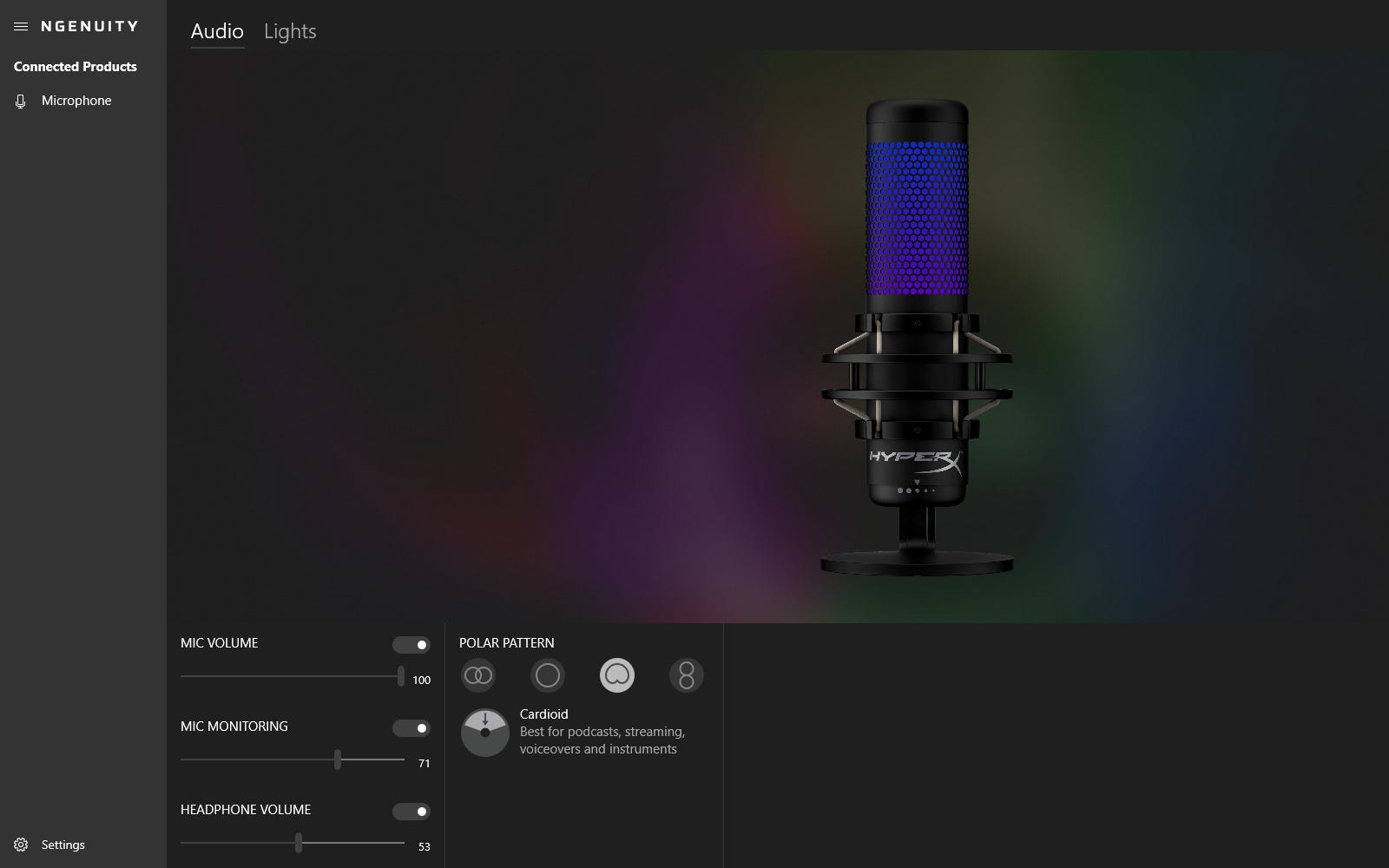 Audio options for the QuadCast S in HyperX NGENUITY