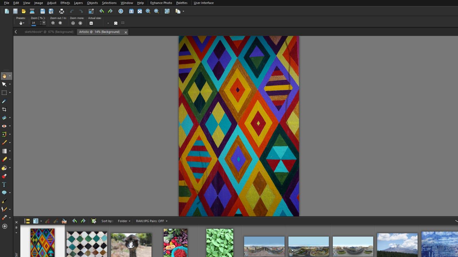 Screenshot of Corel PaintShop Pro 2021 main editing page