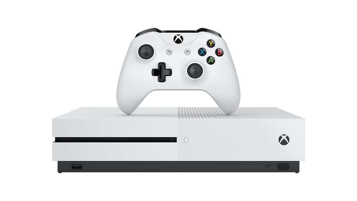 A photo of the white Xbox One S