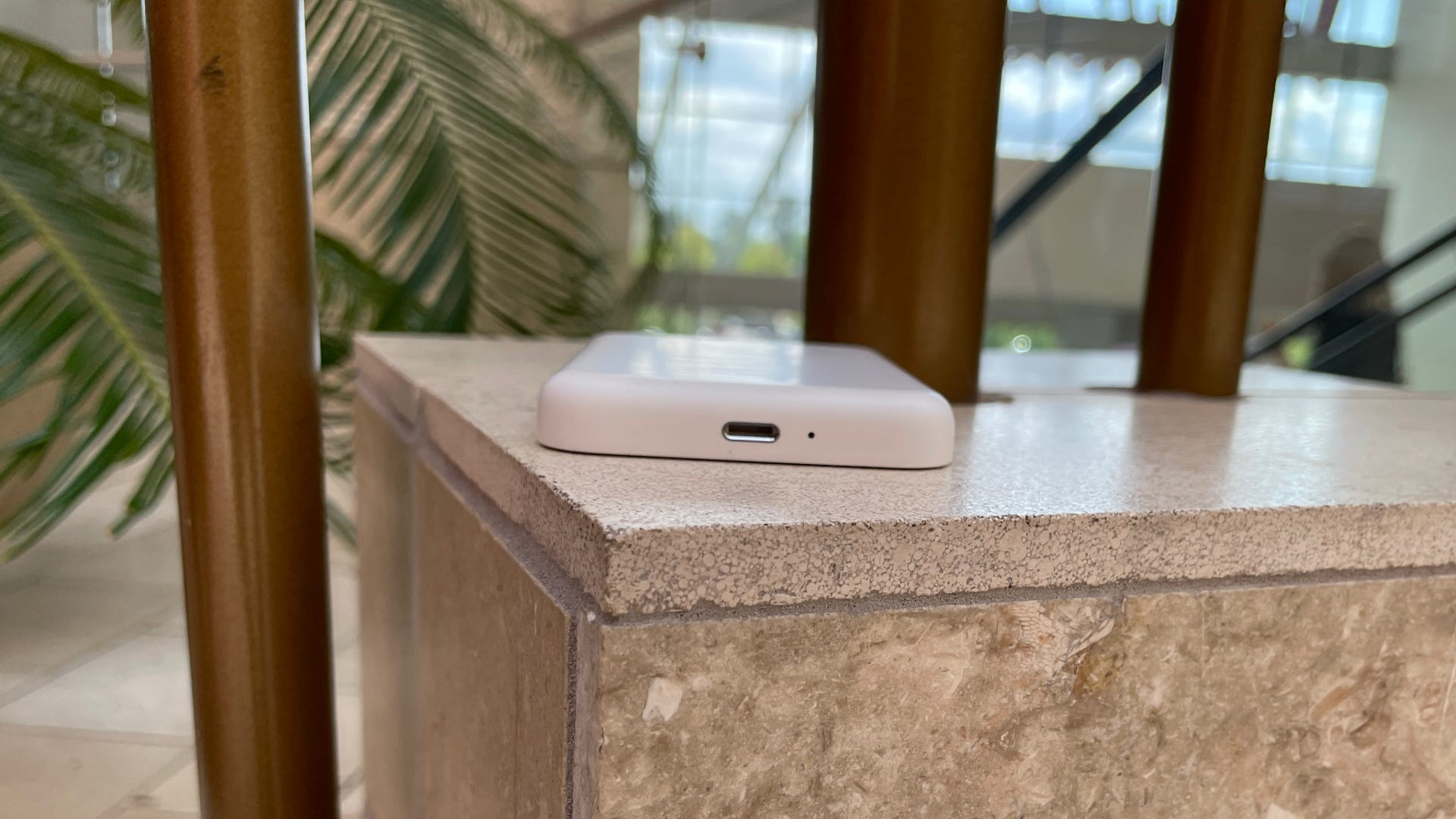 MagSafe Battery Pac on a stone table.