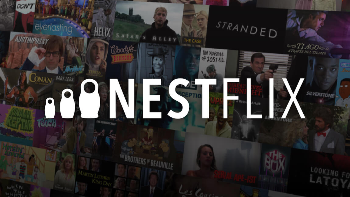 Nestflix logo in front of fake shows