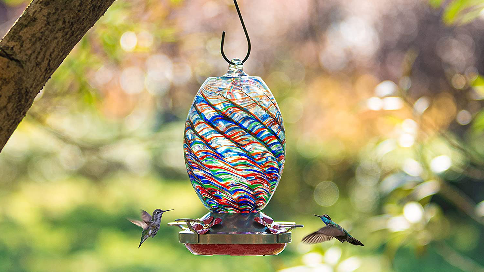These Hand-Blown Glass Hummingbird Feeders are Just What Your Backyard Needs