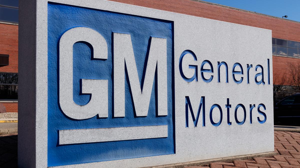 General Motors logo and signage at the metal fabrication division