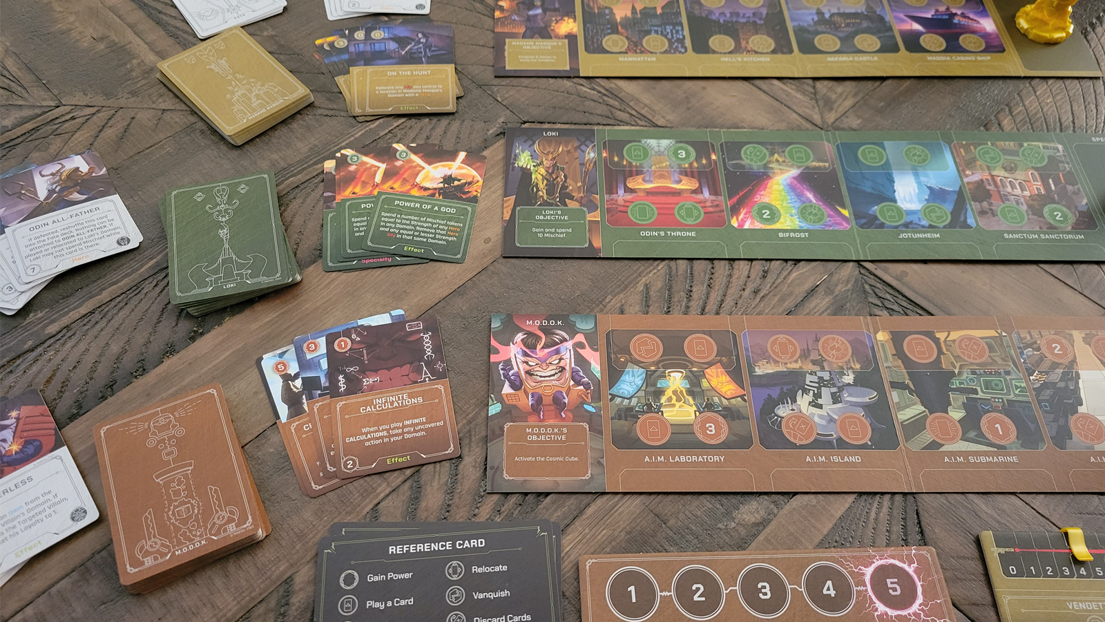 Close-up shot of game cards and player Domains