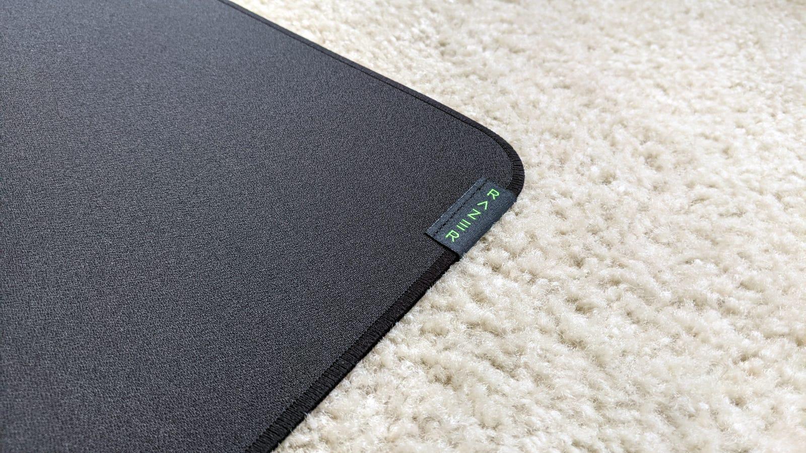 Close-up of Razer Strider mousepad stitched edge